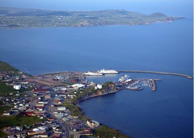 An aerial view of the fishing/marina port of Cap-aux-Meules on the Magdalen Islands