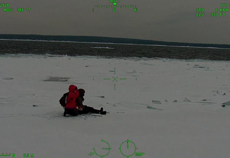Two hikers are stranded on ice. View from the helicopter