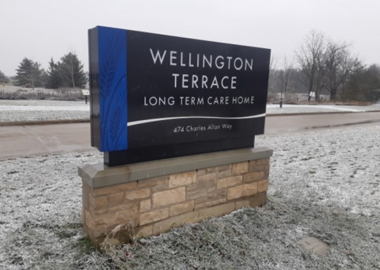 Road sign for Wellington Terrace Long Term Care Home
