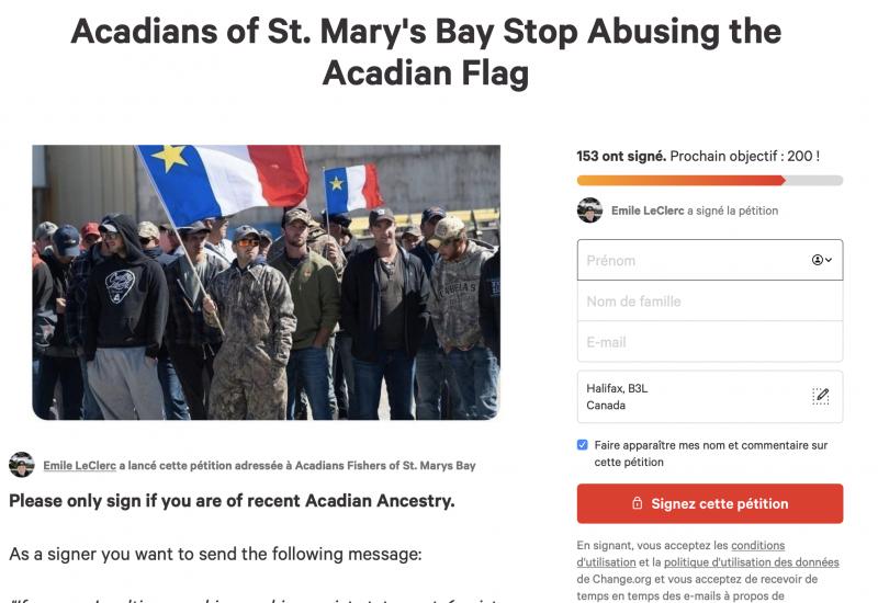 Une pétition en ligne contre l'utilisation du drapeau acadien dans les manifestations entre pêcheurs. Photo : Valentin Alfano sur Change.org