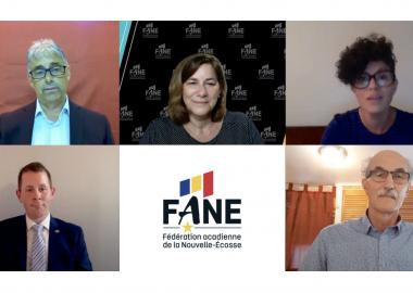 Les 4 candidats sont en visioconférence avec Marie-Claude Rioux. En bas le logo de la FANE.