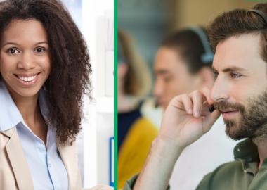 À gauche, il y a une femme avec des cheveux noirs qui porte une blouse blanche. À droite, il y a un homme avec des cheveux bruns qui porte une chemise verte et des écouteurs.
