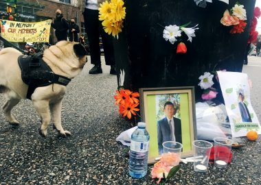 Offerings laid at a Hastings Street memorial for the 37-year-old Downtown Eastside resident shot dead by police on Jan. 5