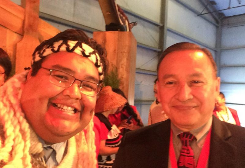 A photo of Chief Don Tom (left) and Grand Chief Stewart Phillip (right).