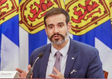 Nova Scotia Minister of Education and Early Childhood Development Zach Churchill speaks at a press conference August 14 2020