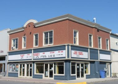 The outside of Princess cinema, the movie theatre in cowansville, on a sunny day