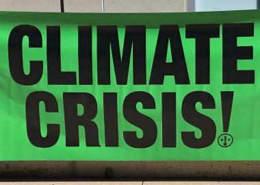Une affiche à la manifestation contre le réchauffement climatique.