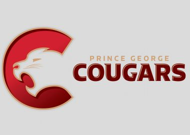 Prince George Cougars logo with a cougar head on the left in a red circle against a grey background.