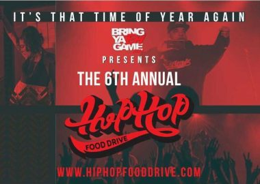 A red and black online poster for the 6th annual Hip Hop Food Drive