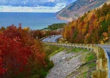 Route traversant là où la mer rencontre les montagnes dans un décor d'automne.