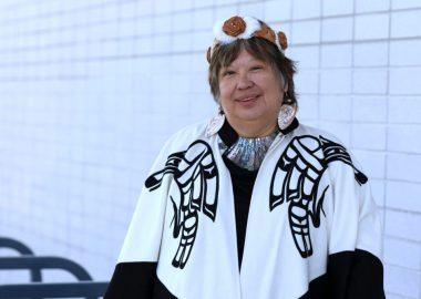A photo of Dr. Judith Sayers in Nuu-Chul-Nulth regalia