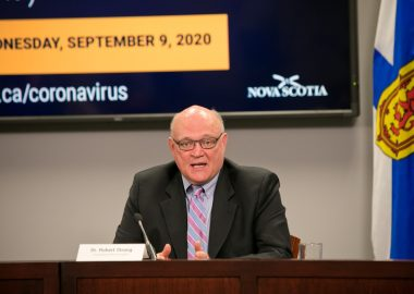 A photo of Dr. Robert Strang providing a COVID-19 update at a press conference Sept. 9, 2020.