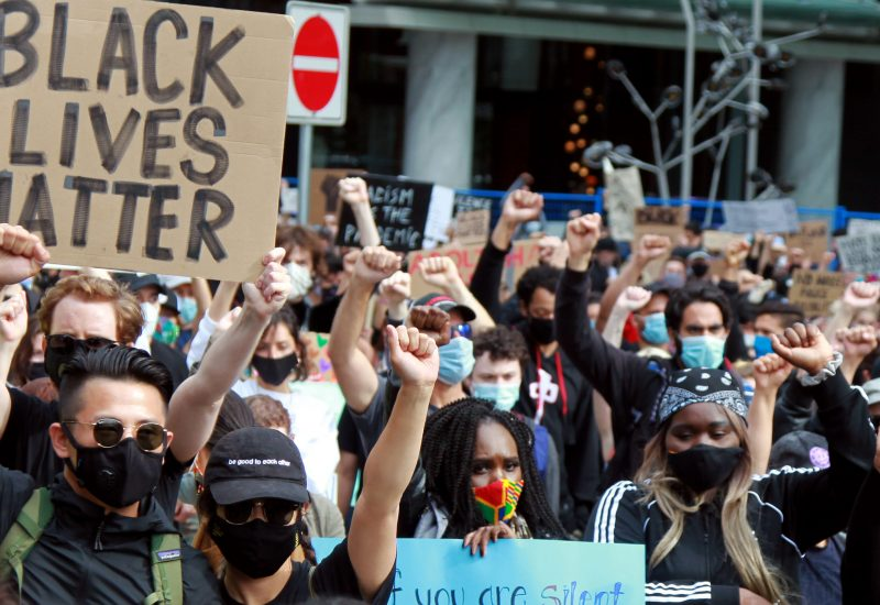 Black Lives Matter supporters rally on June 19, 2020 in downtown Vancouver