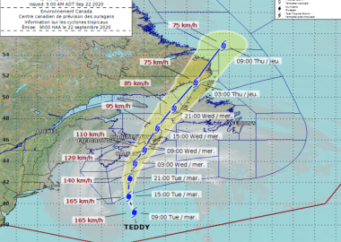 Tracking Hurricane Teddy. Photo Credit: Environment Canada