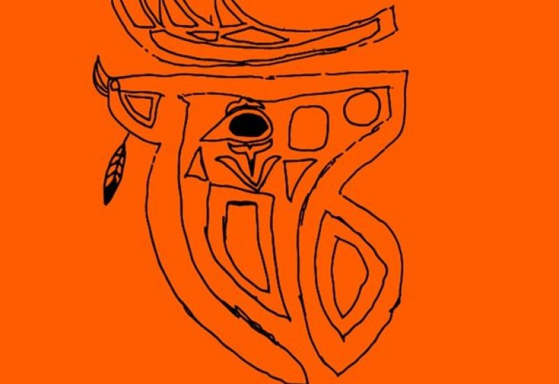 Logo of edmonton elks with feather on left side to be put an orange tshirt.