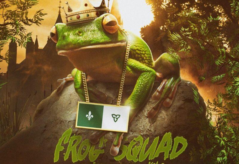 Affiche de l'album ou on vois un crapaud a genoux avec le drapeau du Québec autour du cou. (Photo: Leon 'fa Du Fond)