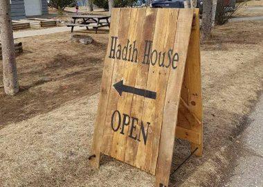 Hadih House sandwich board, says OPEN
