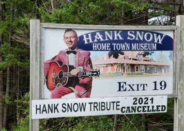 Highway sign for Hank Snow Museum indicates the annual tribute show is cancelled for 2021