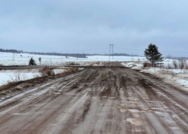 An intersection of a road in Sackville is seen on an overcast winter day