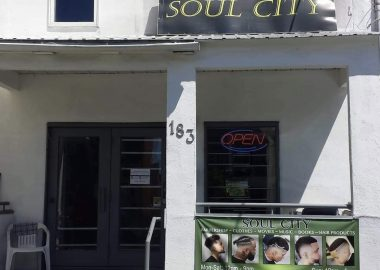The storefront of Soul City barbershop in Centretown