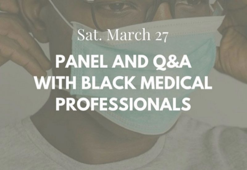 Faded poster for upcoming panel, Black man with glasses wearing a mask