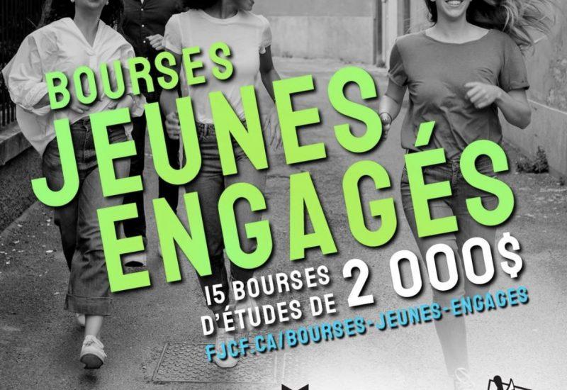 Affiche pour promouvoir les bourses avec une photo de jeunes qui courent. (photo: instagram de la FJCF)