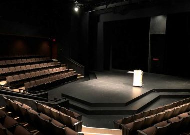 The main stage and audience of the UVIC theatre.