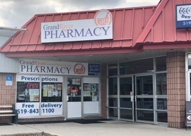 A photo of the Grand River Pharmacy situated in the St. Andrew West Mall in Fergus, Ontario.