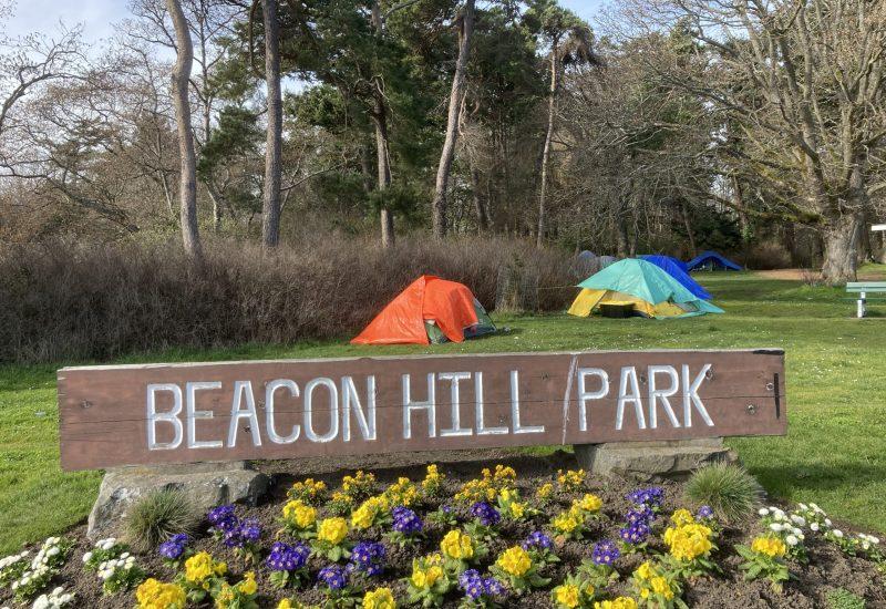 Selon la maire de Victoria, le camping permanent dans les parcs de la ville sera de nouveau interdit à partir du 30 avril 2021. Photo : Mélinda Trochu.