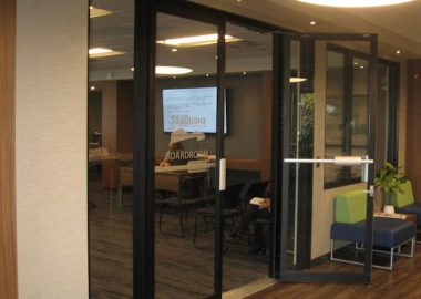 The glass door entrance to the Strathcona Regional District board room.