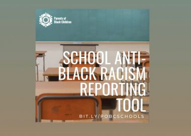 Poster for school anti-black racism reporting displaying school desks. (Photo courtesy of @pobcadvocate Instagram)