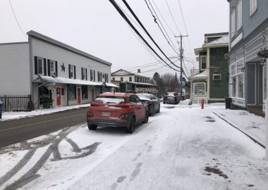 A picture of the main street of Knowlton covered in fresh snow from the first snowfall of the year.
