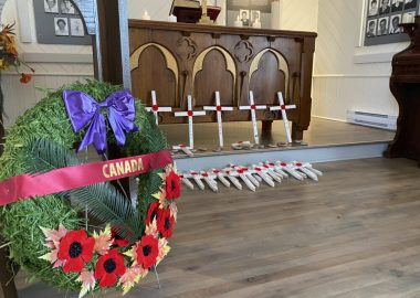 A photo of crosses which were laid in honour of the fallen solders who did not return from war - Magdalen Islands