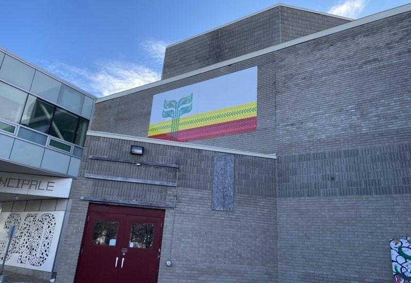 Le mur de devant su centre culturelle avec un grand drapeau franco-manitobain accroché par dessus la porte d'entrée.