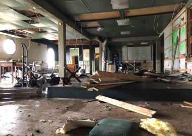 The interior of the building where George's Roadhouse once stood but is now being demolished.