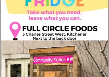 Poster for the KW Community Fridge with the name at a title in a rainbow pallet, with the words
