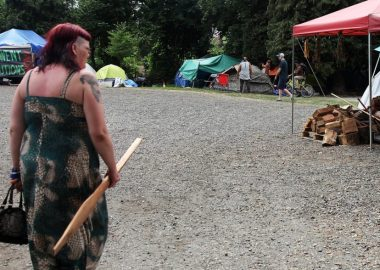 A photo of Kirstine Fermin at the tent city in Strathcona Park in Vancouver.