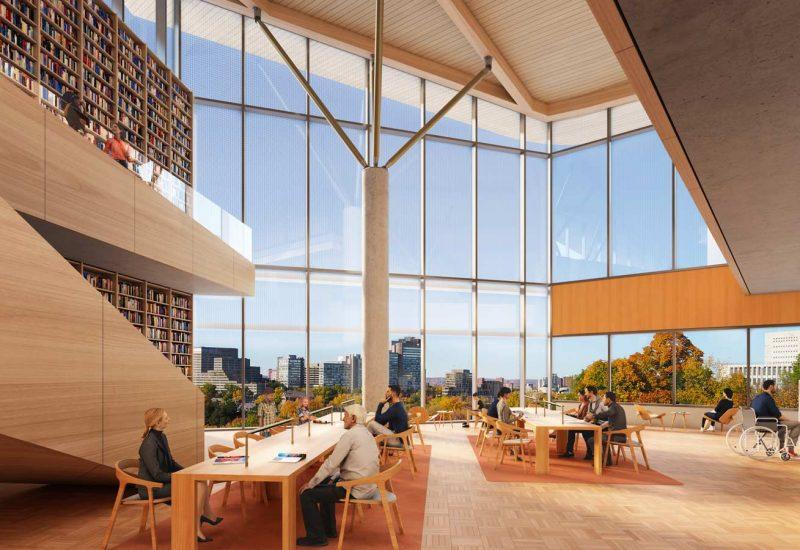 Image en 3D de la salle de lecture de la future bibliothèque publique d'Ottawa