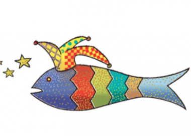 The Liverpool International Theatre festival logo showing a graphic of a multicoloured fish wearing a jester hat