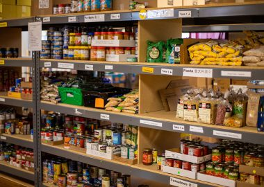 An image of a shelf of food in a store.
