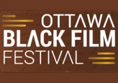 "Stylized white text on a beige background that says, ""Ottawa Black Film Festival."""