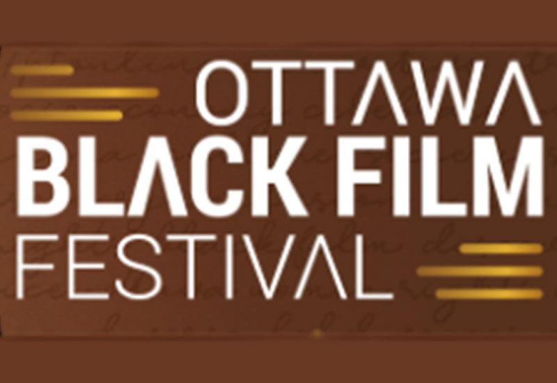 "Stylized white text on a beige background that says, ""Ottawa Black Film Festival."""