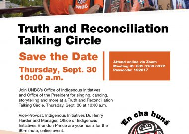 An orange and white poster advertising the Talking Circle Truth and Reconciliation event on Sept.30 at UNBC.