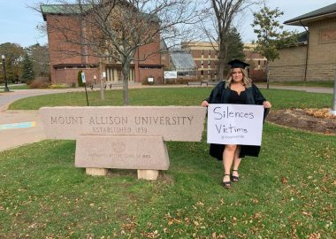 Michelle Roy calls out Mount Allison's handling of sexual assaults in this photo posted on social media this weekend. Her posts garnered thousands of responses. Photo: Facebook