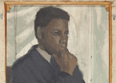 A painting of a Black man with his hand on his chin.