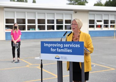 A photo of Minister Judy Darcy announces additional funding for mental health programs for school districts in British Columbia