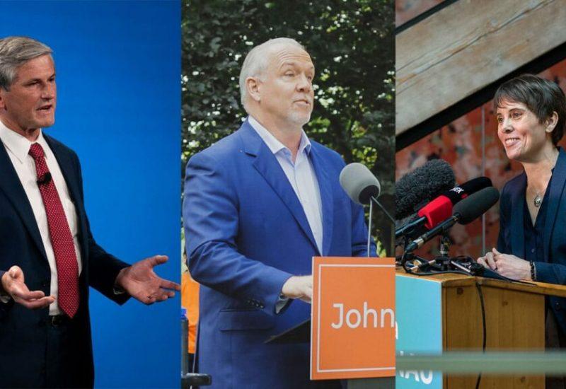 Montage photo montrant les leaders de 3 princiaux partis en course pour l'élections provinciale en C-B.