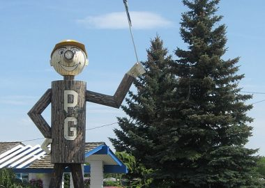 Mr. PG, the unofficial mascot of Prince George. A man made of logs.