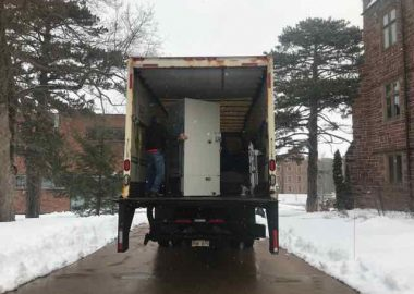 Two -80-degree freezers were picked up on the Mount Allison University campus by the Government of New Brunswick earlier this month. The University is loaning two -80-degree lab freezers, usually used for research purposes, to the province for vaccine storage over the coming months. Photo: Mount Allison