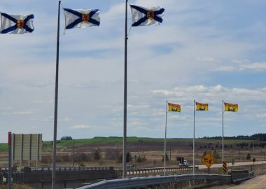 Three Nova Scotia flags on poles in foreground, and three New Brunswick flags on poles in the background, along a highway.